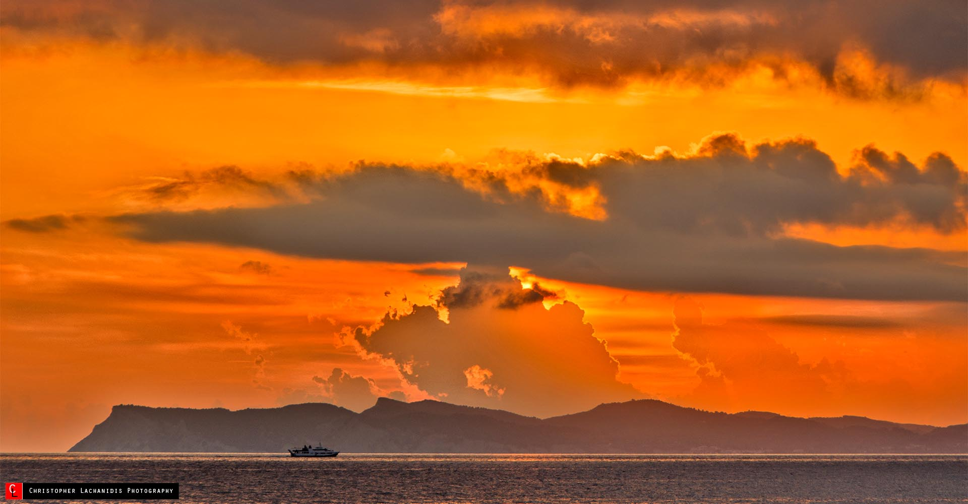 Gold clouds viewing Corfu island!