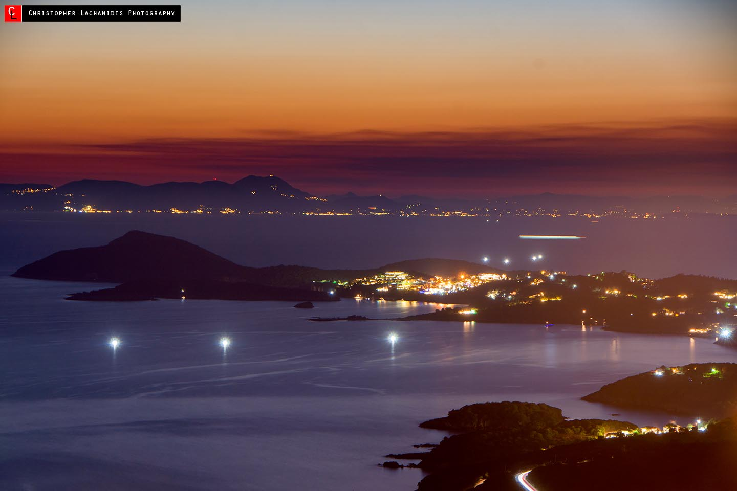 Shortly after sunset at Paratiritirio site overlooking Sivota and Corfu!